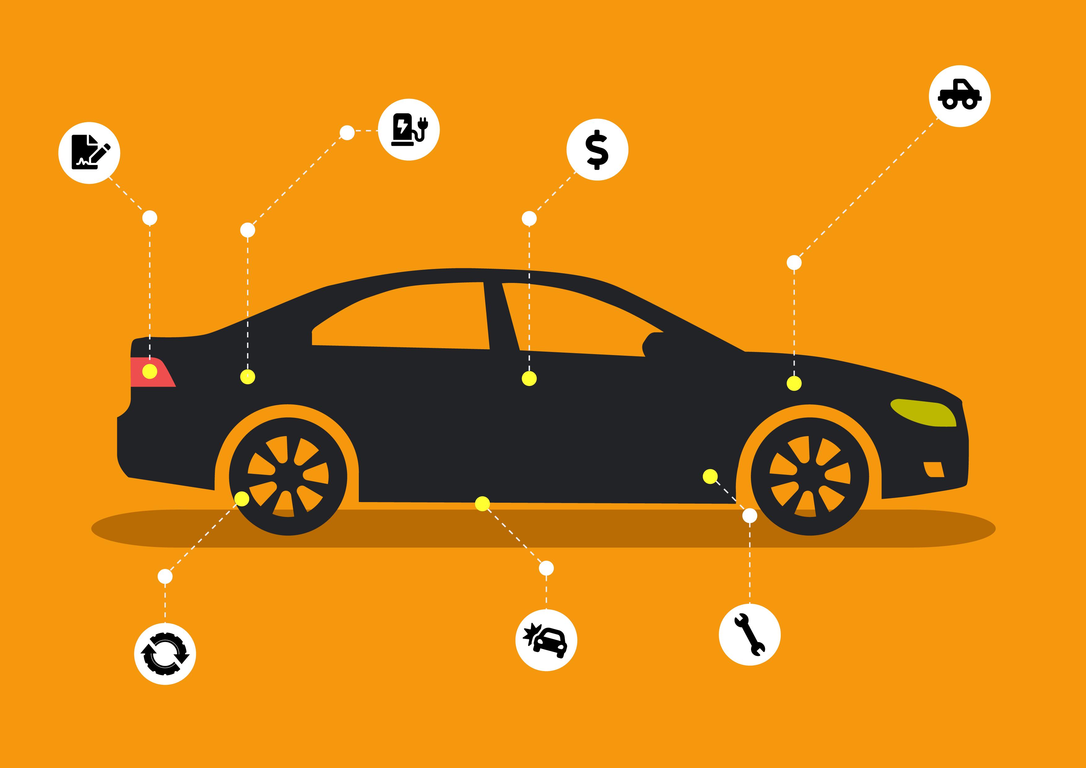 en-tecknad-bil-med-symboler